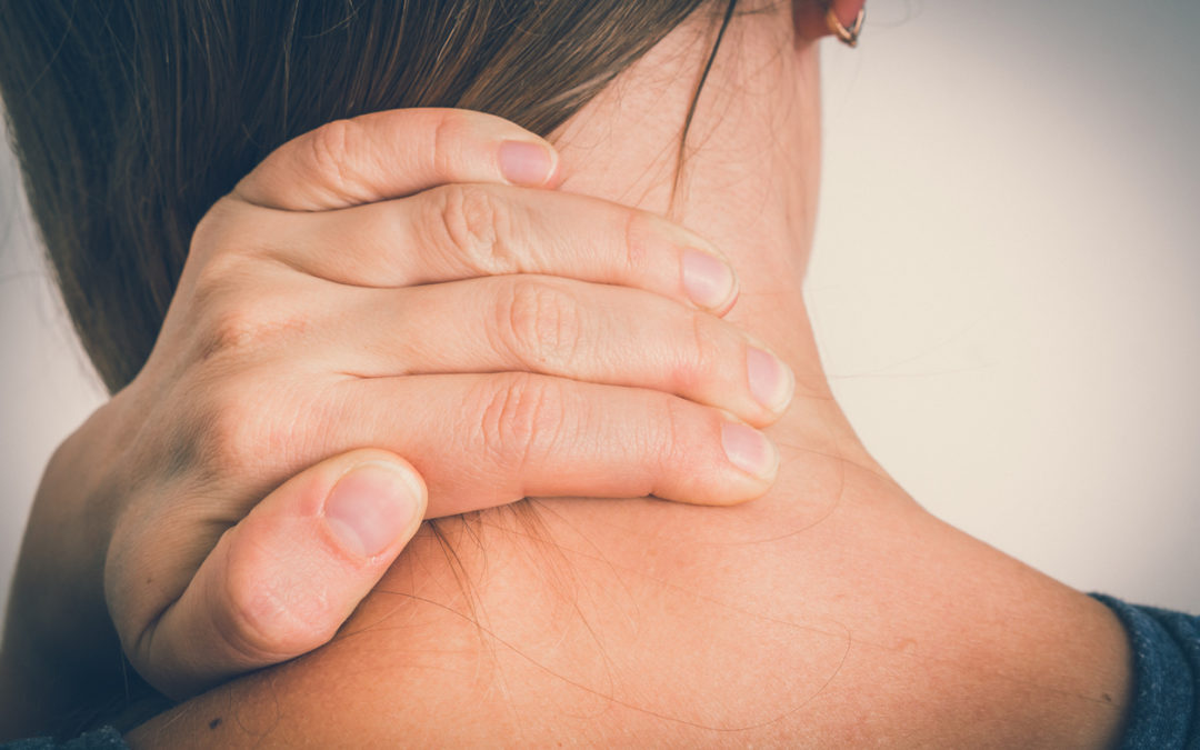woman with myalgia pain in neck