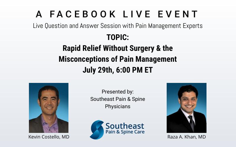 Facebook Live: Rapid Relief Without Surgery & Pain Management Misconceptions